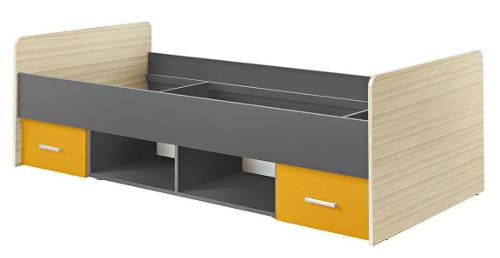 Studentská postel se žlutými šuplíky