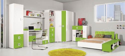 Zeleno-bílý studentský pokoj