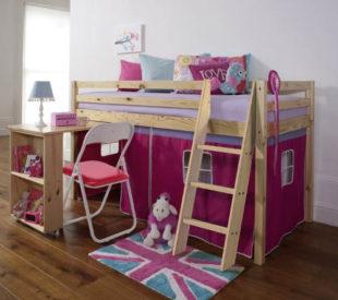 Dětská holčičí postel s pc stolem a domečkem