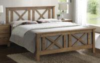 Masivní manželská postel teak s vypalovaným dekorem
