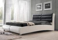 Maželská postel bílá a černá kůže