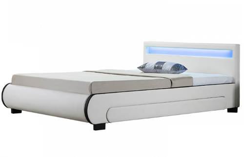 Moderní čalouněná postel s LED osvětlením