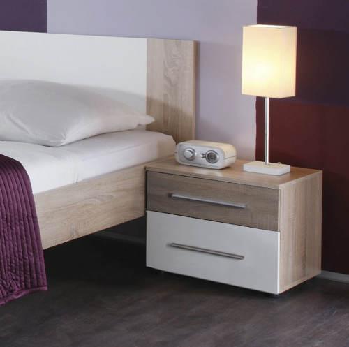 Postel s nočními stolky kombinace dub sonoma - bilá