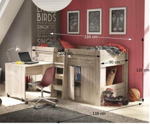 Rozměry dětské postele s psacím stolem