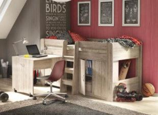 Víceučelová vyvýšená dětská postel s psacím stolem
