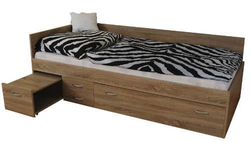 Výsuvný noční stolek jednolůžkové postele