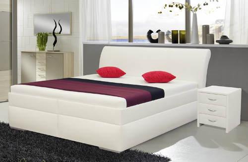 Bílá manželská postel ekokůže