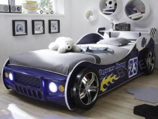 Dětská postel modré závodní auto s osvětlením