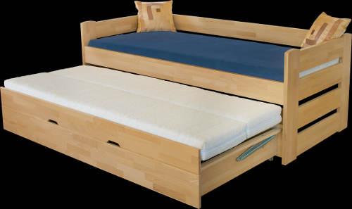 Masivní dětská postel s přistýlkou