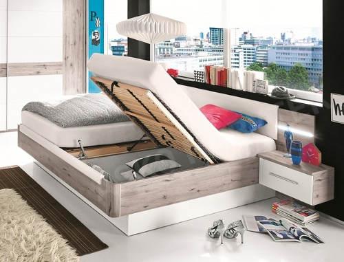 Moderní manželská postel s úložnými prostory