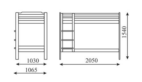 Optimální rozměry dětské poschoďové postele