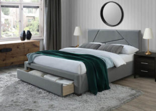 Šedá čalouněná postel Valery 160x200 cm