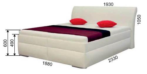 Vysoká bílá kožená postel