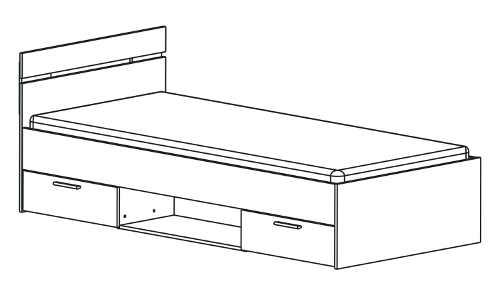 Levná jednolůžková postel s úložnými šuplíky