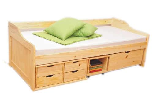 Masivní jednolůžková postel s šuplíky