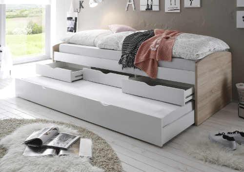 Praktická postel s přistýlkou a úložnými prostory