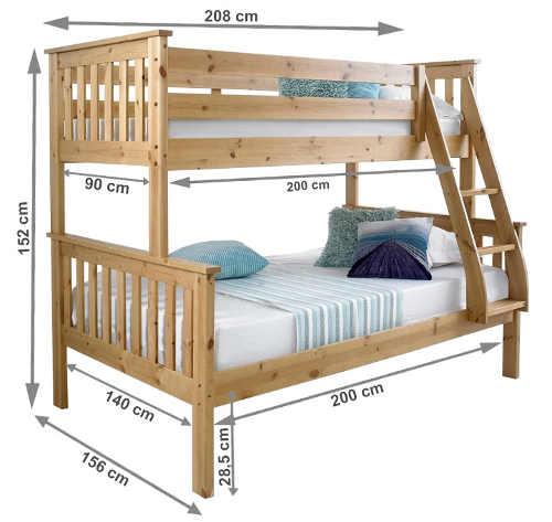 Rozměry poschoďové postele pro tři