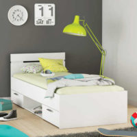 Bílá multifunkční studentská postel 90x200 cm