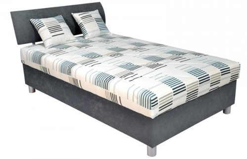 Čalouněná šedá jednolůžková postel George 120x200