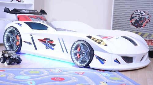 Dětská postel bílé závodní auto Speedy s osvětlením a zvuky