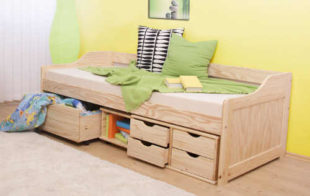 Jednolůžková víceúčelová postel s mnoha úložnými prostory