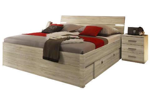 Manželská postel 180x200cm s nočními stolky a LED osvětlením