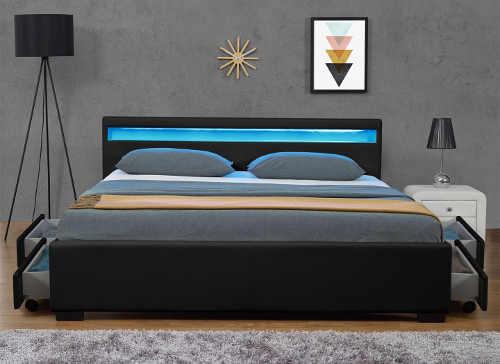 Postel s LED osvětlením do moderní ložnice
