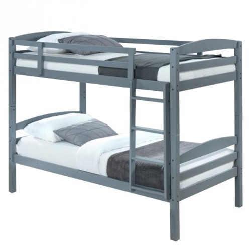 Šedá dětská patrová postel z masivního dřeva