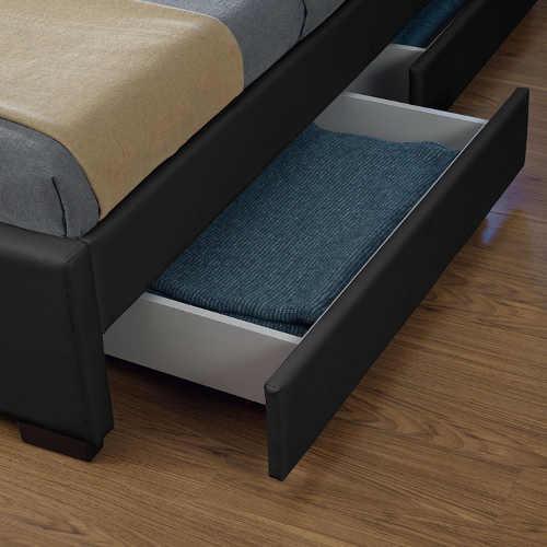 Úložné šuplíky postele čalouněné černou ekokůži