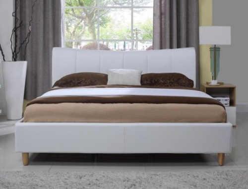 Čalouněná manželská postel bílá kůže