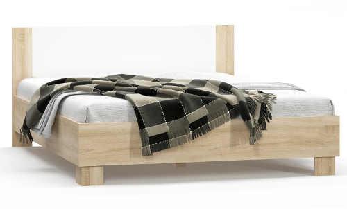 Dvoulůžková postel kombinace dub sonoma, bílá