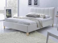 Bílá elegantní postel ekokůže s roštem