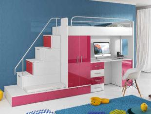 Bílo-růžový set do dětského pokoje s vyvýšenou postelí