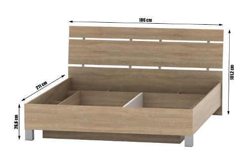 Dvoulůžková postel dub sonoma vyrobená na Slovensku