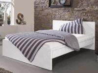 Levná jednolůžková postel lesklá bílá