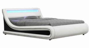 Manželská postel polstrovaná čenou a bílou ekokůží s RGB LED osvětlením