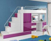 Patrová postel se schody a pc stolkem do dívčího pokoje