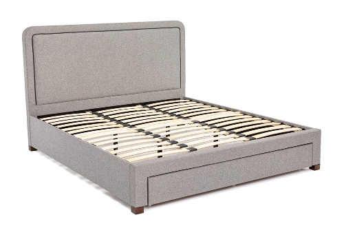 Šedá dvoulůžková postel skandinávký styl