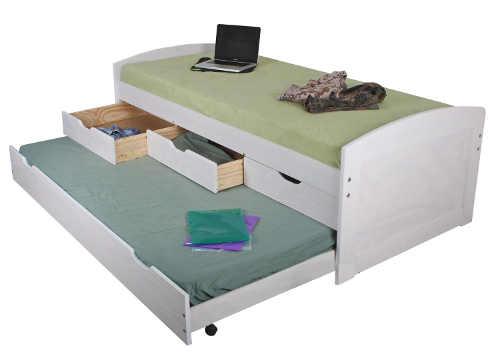 Bílá postel s přistýlkou a úložnými prostory