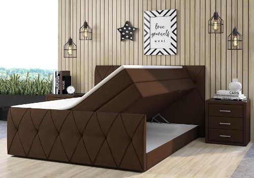 Hnědá kontinentální postel s úložným prostorem