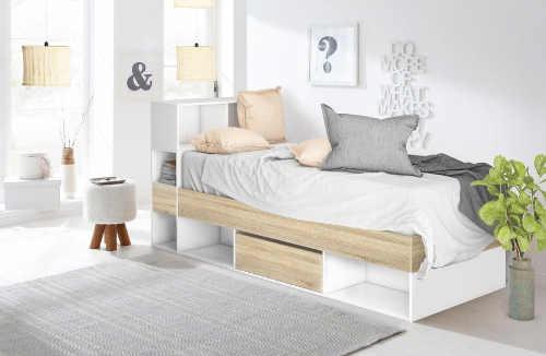 Jednolůžková postel s úložnými prostory pod postelí i za hlavou