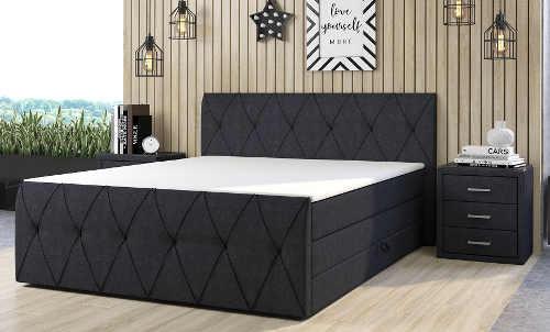 Luxusní antracitová čalouněná manželská postel