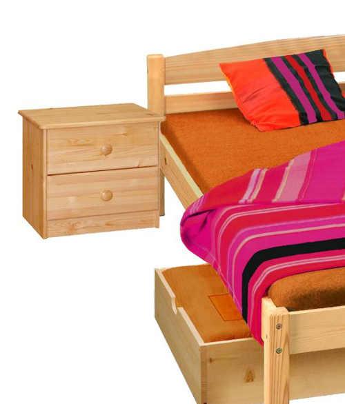 Manželská borovicová postel s nočními stolky