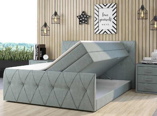 Světle šedá vysoká čalouněná dvoulůžková postel