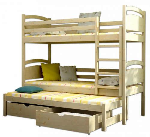 Patrová dřevěná postel s přistýlkou