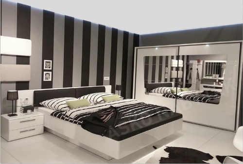 Moderní černobílá ložnice pro mladé