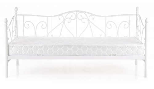 Bílá kovová jednolůžková postel s ozdobnými bočnicemi