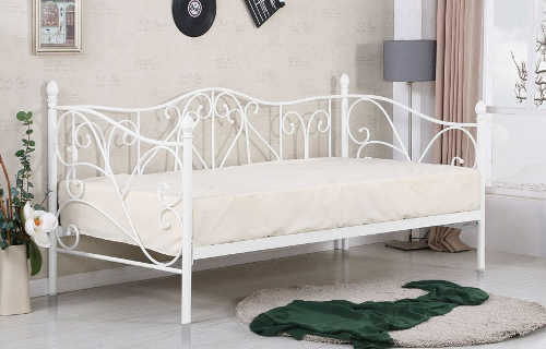 Bílá kovová jednolůžková postel Sumatra
