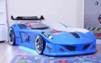 Exkluzivní dětská postel modré závodní auto s LED osvětlením