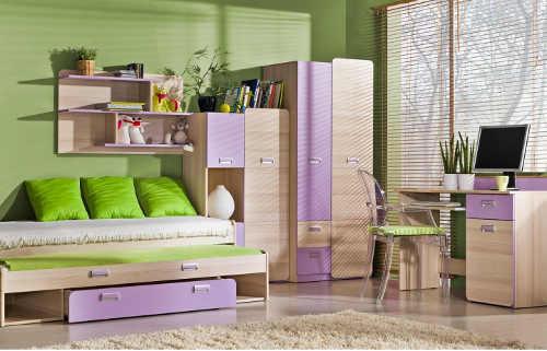 Fialová dětská rozkládací postel